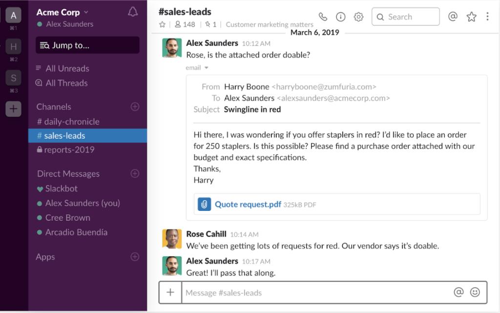 Screenshot of Slack app