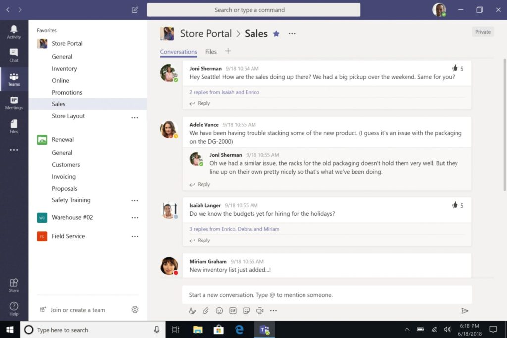 example of microsoft chat